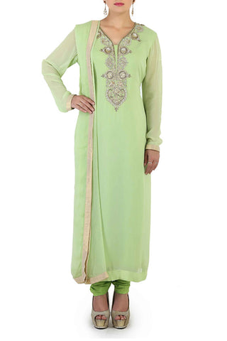 Mint Georgette Suit Front