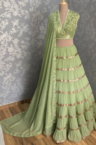 Green Tiered Sequin Lehenga Set