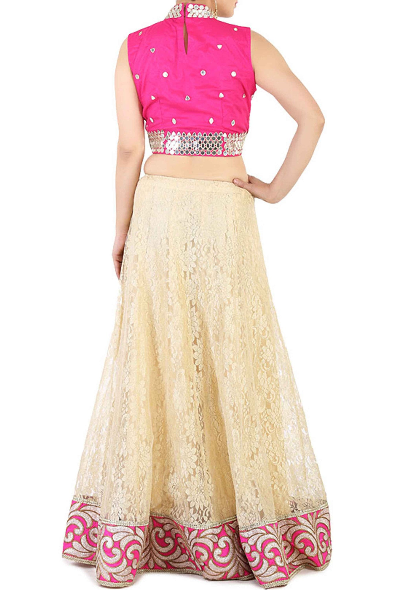 Pink Lace Effect Lehenga Back