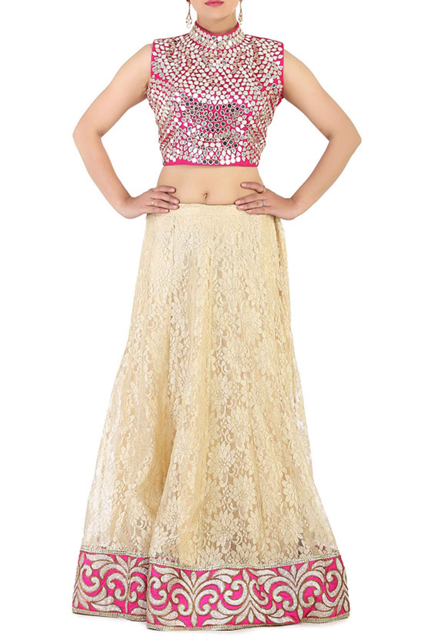 Pink Lace Effect Lehenga CloseUp