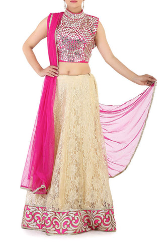 Pink Lace Effect Lehenga Front