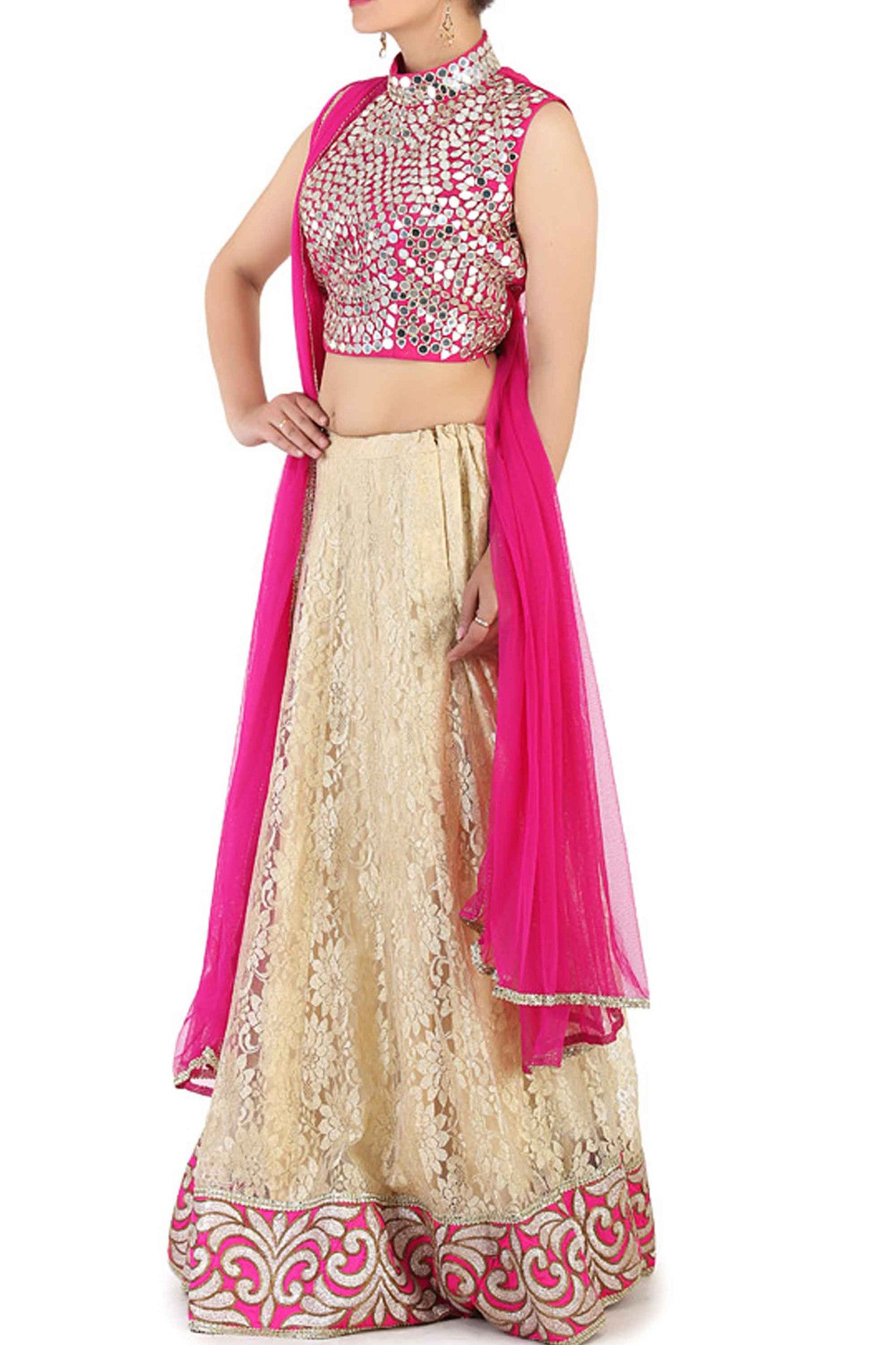 Pink Lace Effect Lehenga Side
