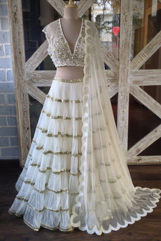 Ivory Tiered Sequin Lehenga Set