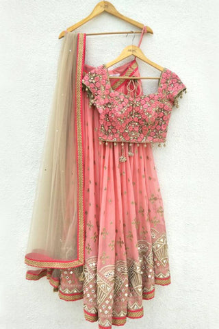 Pink Embroidered Lehenga With Nude Dupatta & Embroidered Blouse