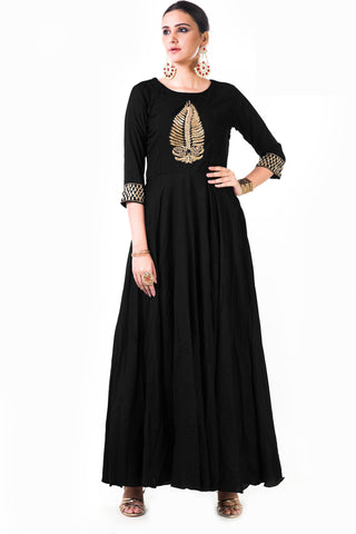 Black Silk Anarkali Gown Front