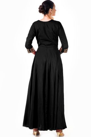 Black Silk Anarkali Gown