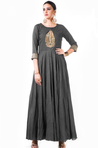 Grey Silk Anarkali Gown Front