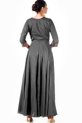 Grey Silk Anarkali Gown