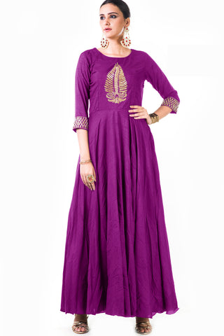 Purple Silk Anarkali Gown Front