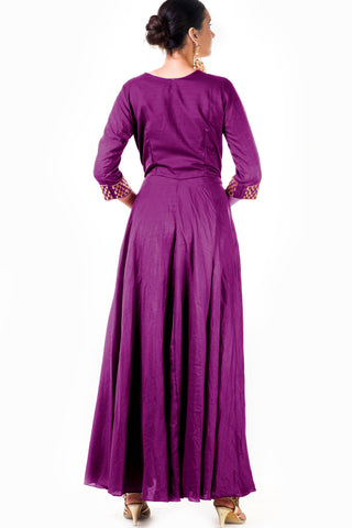 Purple Silk Anarkali Gown