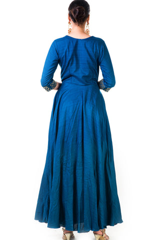 Blue Silk Anarkali Gown