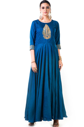 Blue Silk Anarkali Gown Front
