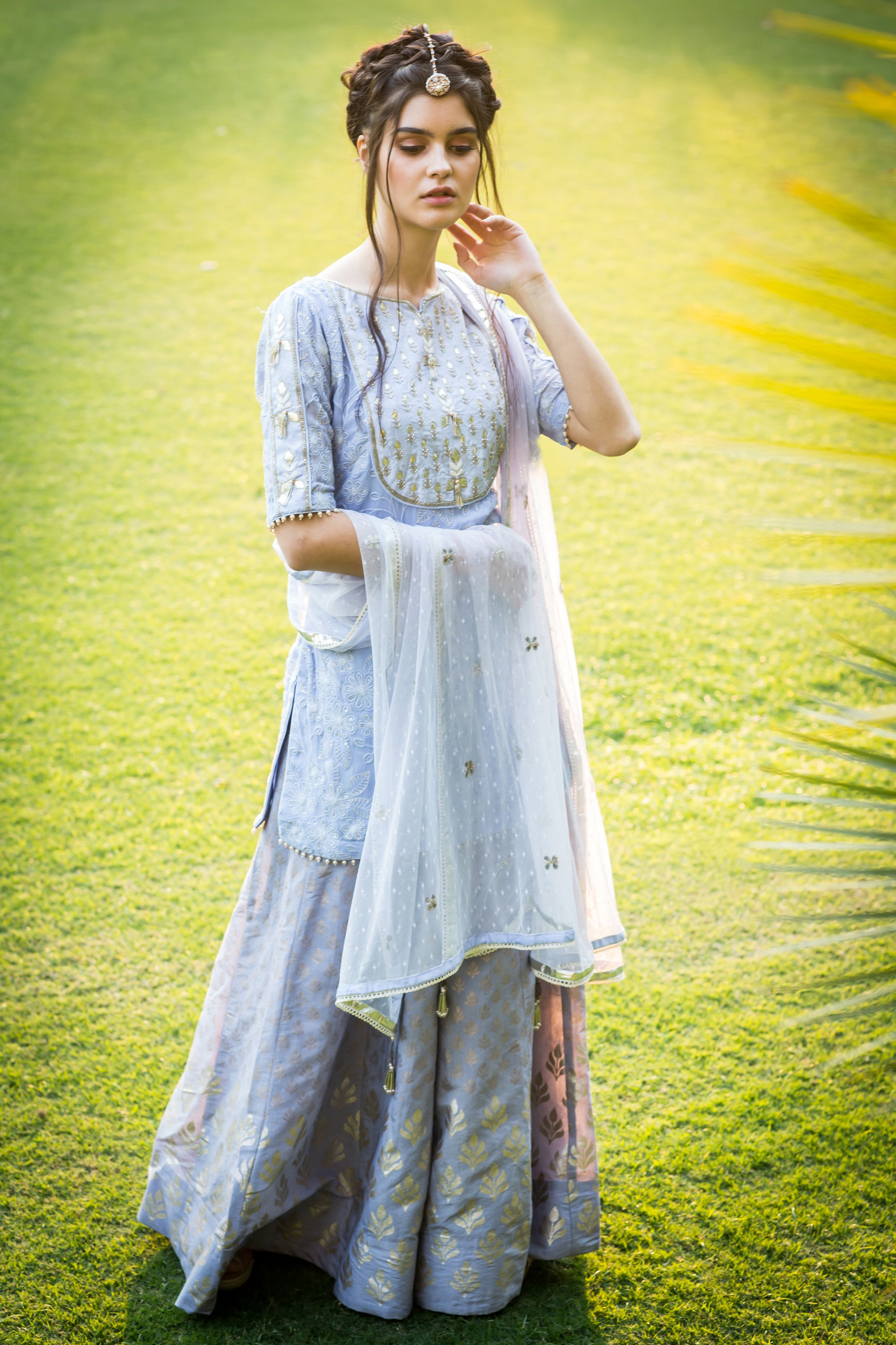 Lilac Embroidered Kurta With Foil Print Sharara Set FRONT