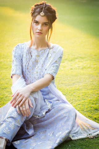 Lilac Embroidered Kurta With Foil Print Sharara Set