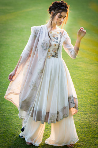 Offwhite Chanderi Anarkali Set With Lavender Print Dupatta & Border FRONT