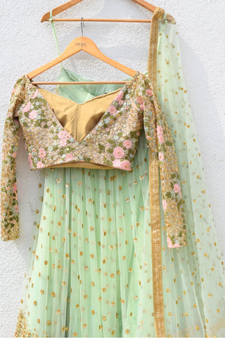 READY TO SHIP: Mint Green Sequins Lehenga With Off Shoulder Blouse & Mint Green Dupatta