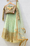 Mint Green Sequins Lehenga With Dark Oyster Blouse & Mint Green Dupatta Back CloseUp