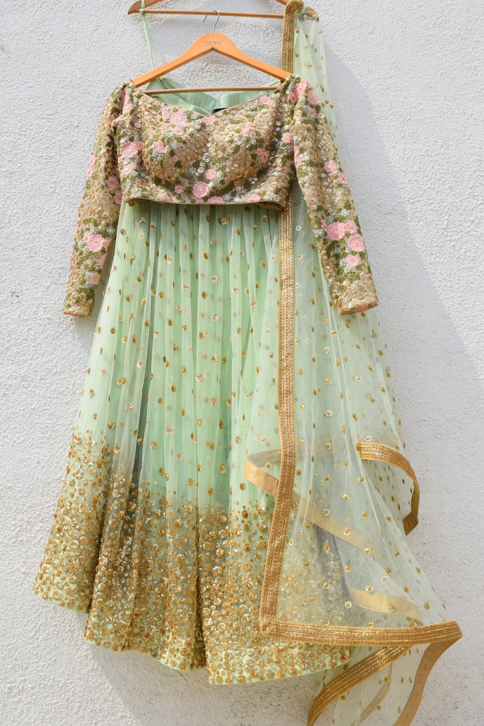 Mint Green Sequins Lehenga With Dark Oyster Blouse & Mint Green Dupatta Front