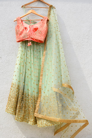 Mint Green Sequins Lehenga With Melon Orange Blouse & Mint Green Dupatta