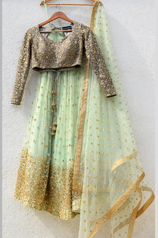 Mint Green Lehenga With Slate Grey Blouse & Mint Green Dupatta