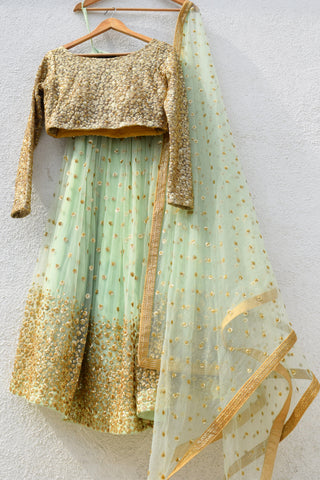 Mint Green Lehenga With Nude Gold Sequins Blouse & Mint Green Dupatta