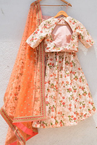 Coral Rose Thread Embroidered Lehenga With Blouse & Dupatta