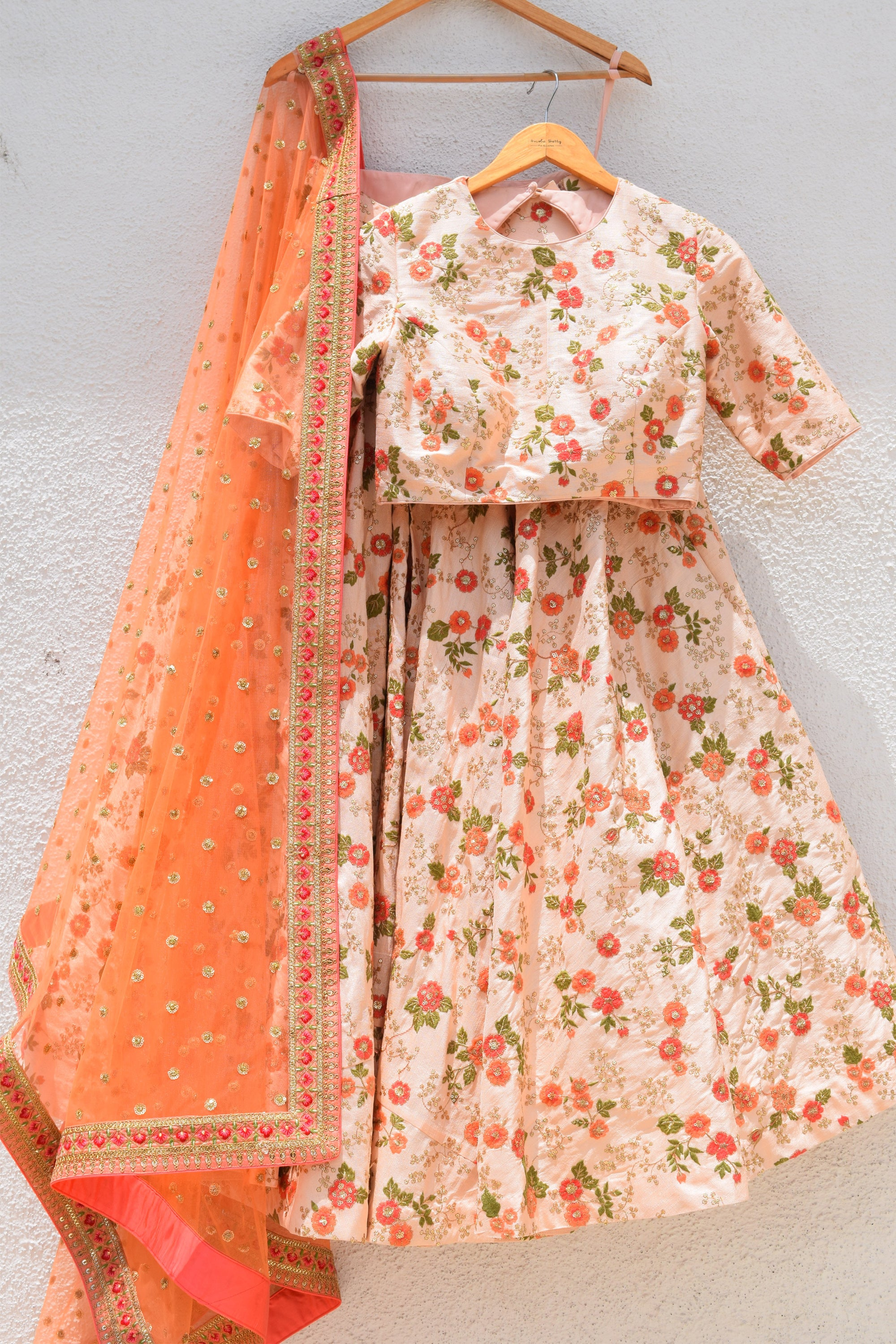Coral Rose Thread Embroidered Lehenga With Blouse & Dupatta Front 1