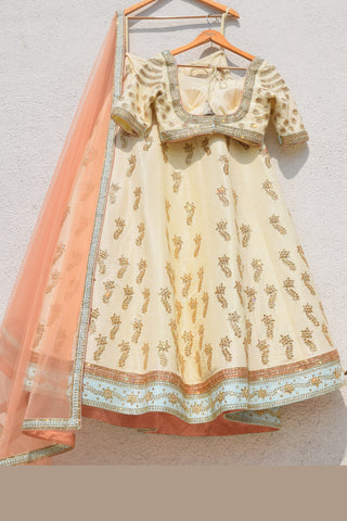 Cream Lemon Yellow Lehenga With Blouse & Salmon Pink Dupatta
