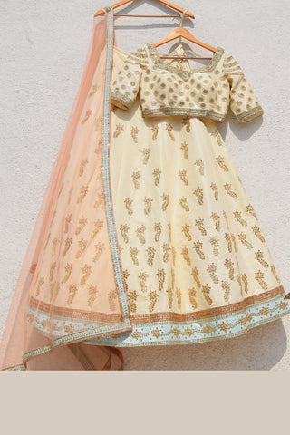 Cream Lemon Yellow Lehenga With Blouse & Salmon Pink Dupatta Front