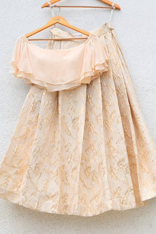 Jacquard Brocade Cream Lehenga With Off Shoulder Cascade Frills Crop Top