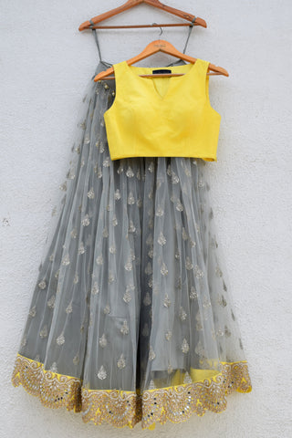 Grey Zardozi Embroidered Lehenga With Yellow Blouse & Dupatta