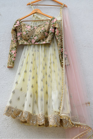 Banana Yellow Lehenga With Dark Oyster Blouse & Cotton Candy Pink Dupatta