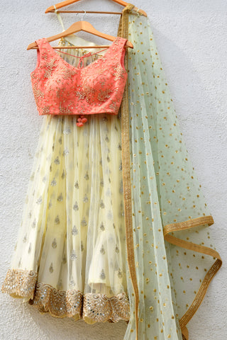 Banana Yellow Lehenga With Melon Orange & Mint Green Dupatta
