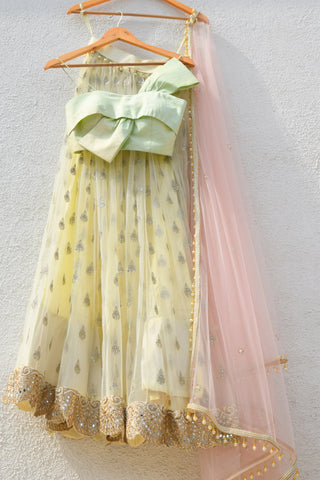 Banana Yellow Lehenga With Mint Green Bow Blouse & Cotton Candy Pink Dupatta