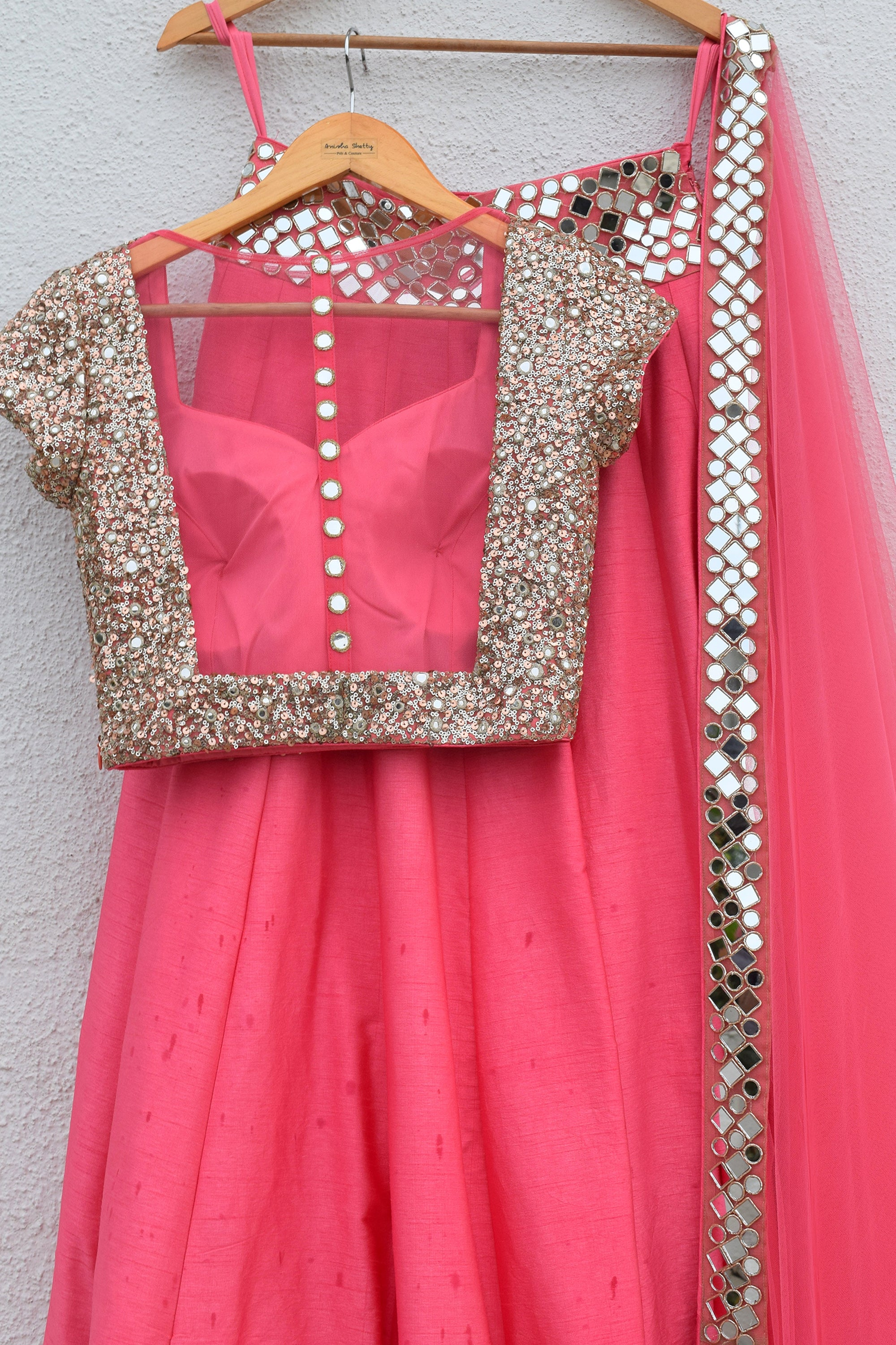 Pink Punch Lehenga With Blouse & Dupatta Back