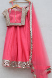 Pink Punch Lehenga With Blouse & Dupatta Back CloseUp