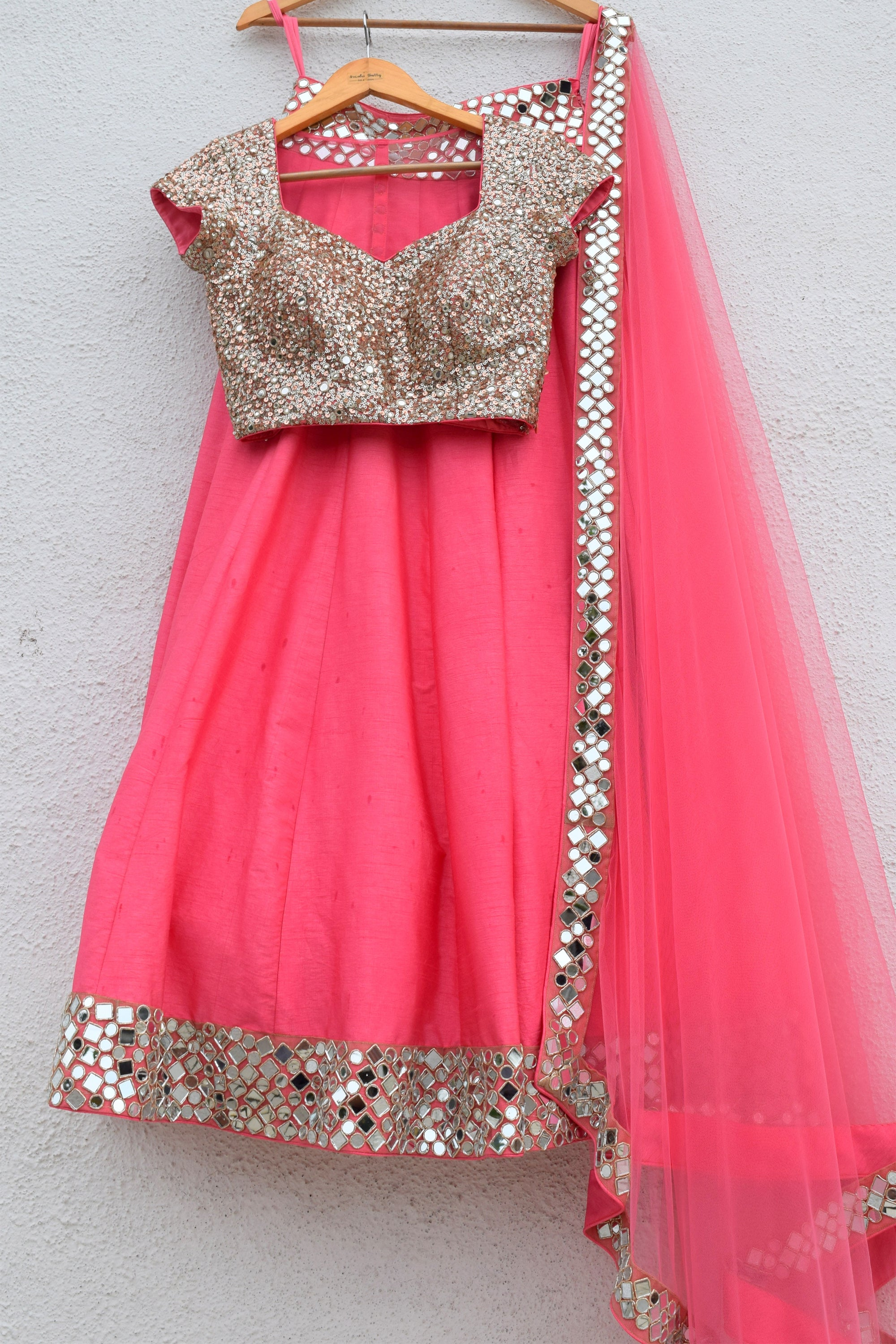 Pink Punch Lehenga With Blouse & Dupatta Front