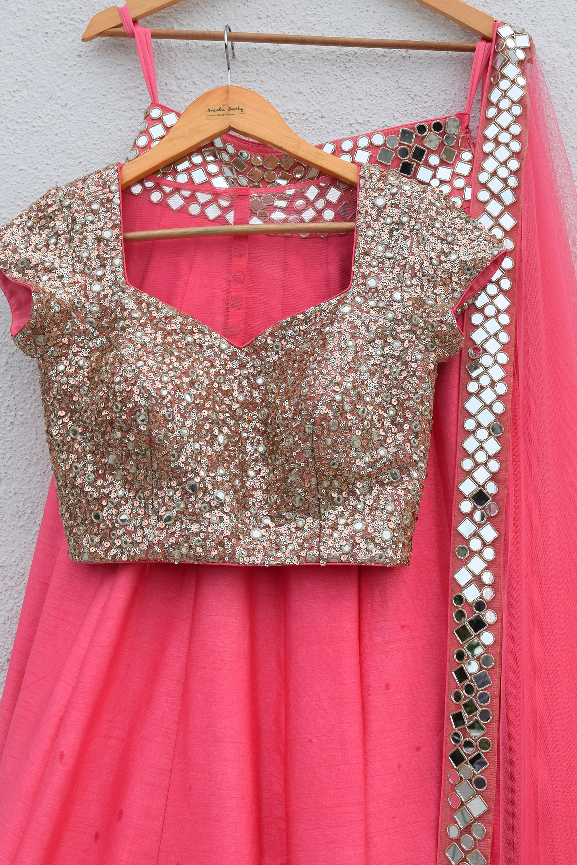 Pink Punch Lehenga With Blouse & Dupatta Front CloseUp