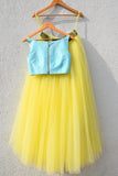 Yellow Lehenga With Blue Crop Top