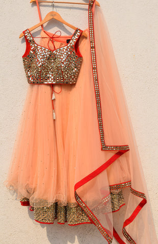 Peach Lehenga With Red Mirror Blouse