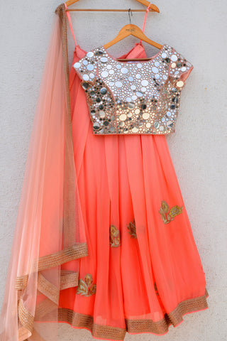 peach ombre lehenga with mirror work blouse