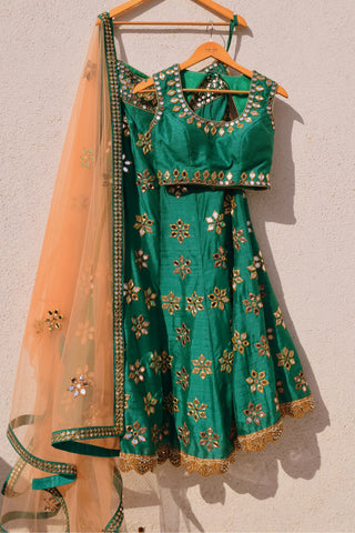 Green Mirror Work Lehenga With Peach Dupatta Front