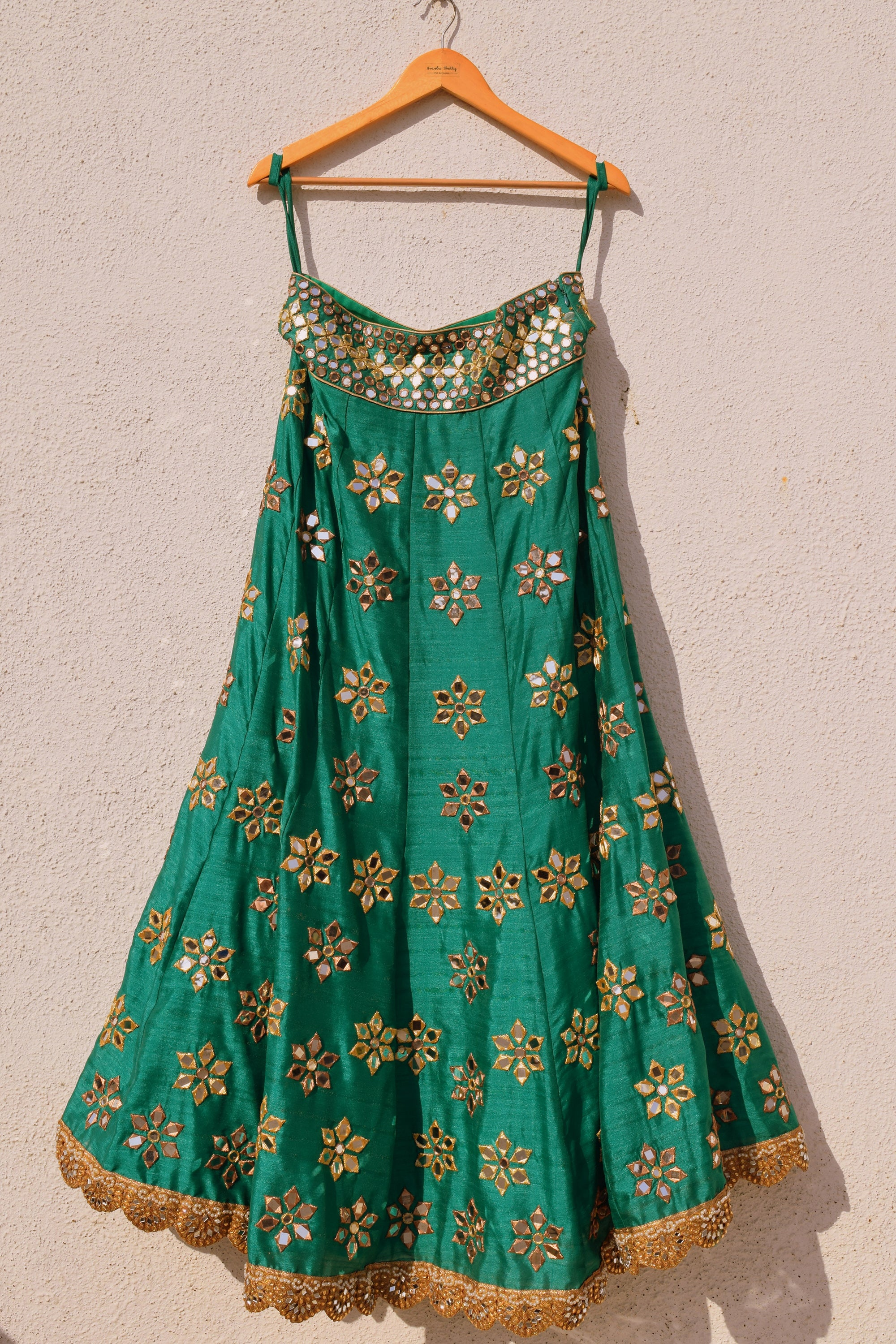 Green Mirror Work Lehenga With Peach Dupatta Skirt