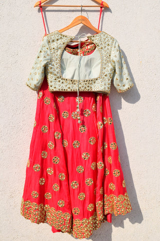 Pink Mirror Work Lehenga With Mint Green Mirror Blouse