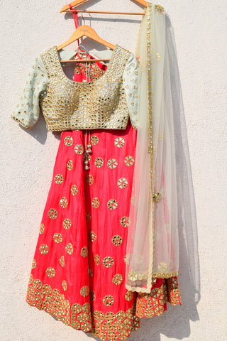 Pink Mirror Work Lehenga With Mint Green Mirror Blouse Front