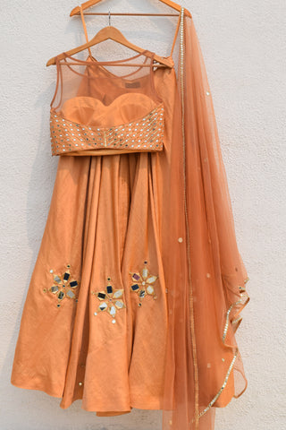 Golden Mirror Work Lehenga