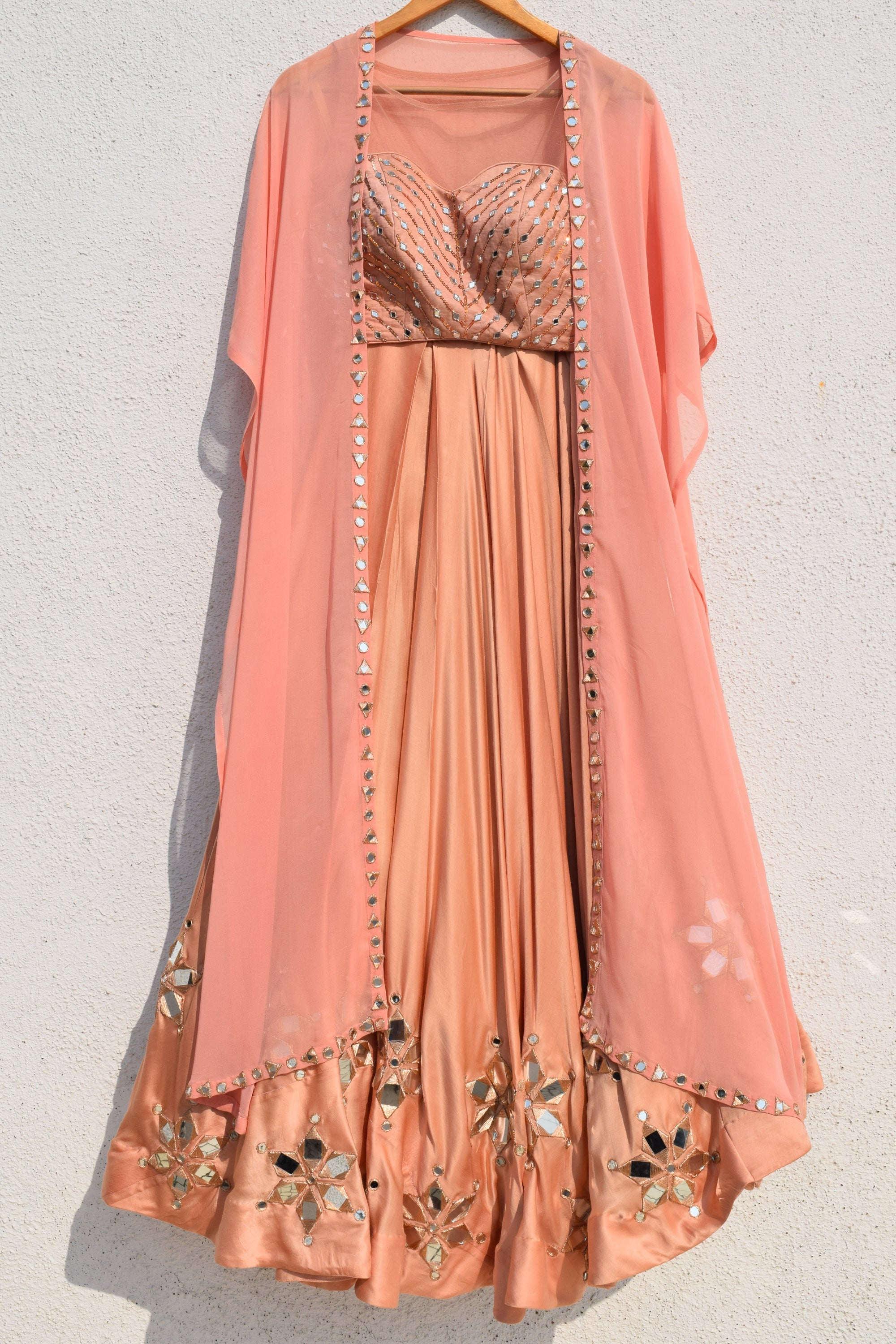 Nude And Rose Pink Mirror Work Lehenga Front