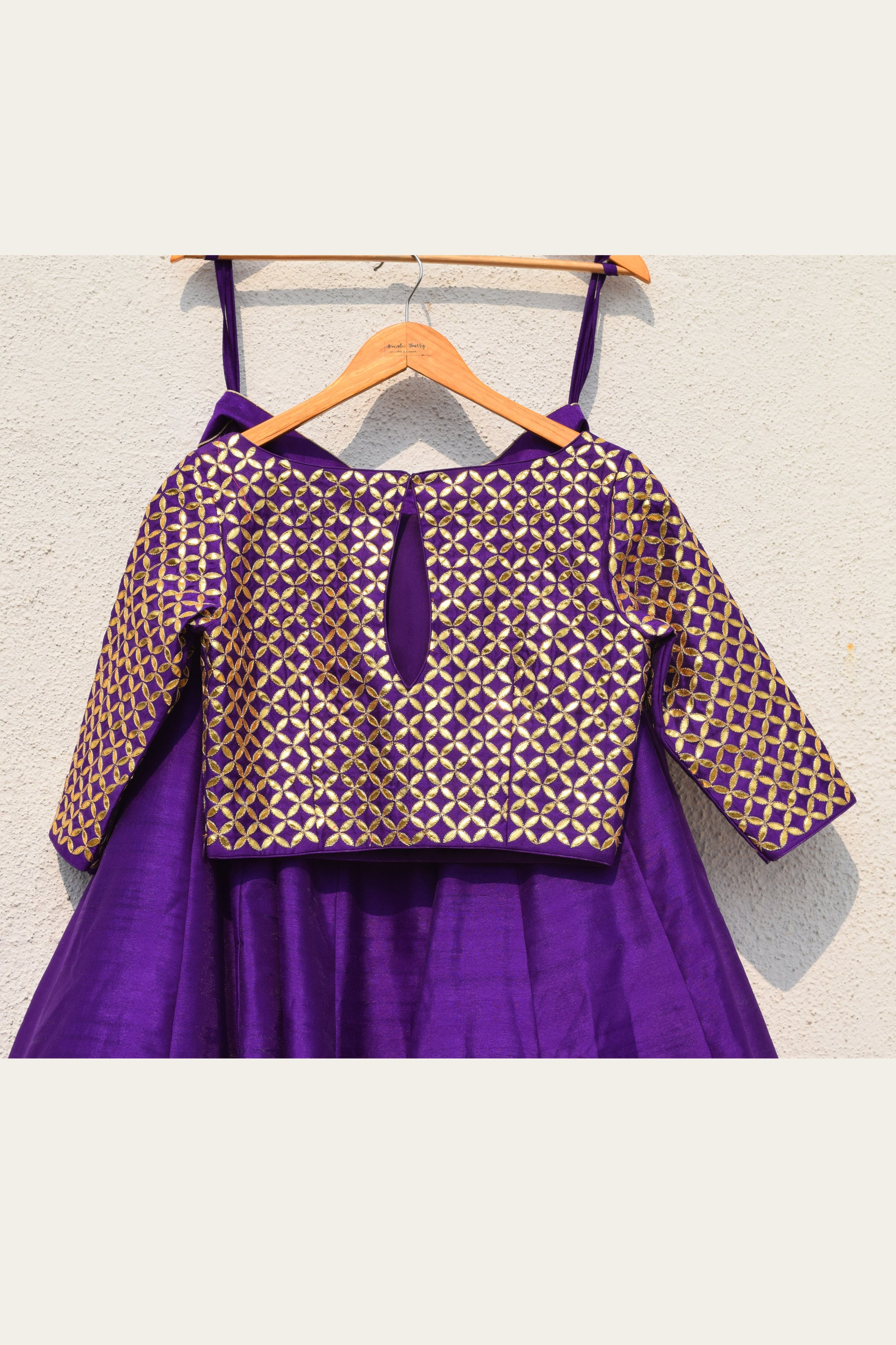 Purple Lehenga With Gota Patti Blouse & Dupatta Back CloseUp