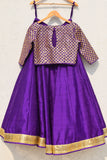 Purple Lehenga With Gota Patti Blouse & Dupatta Back