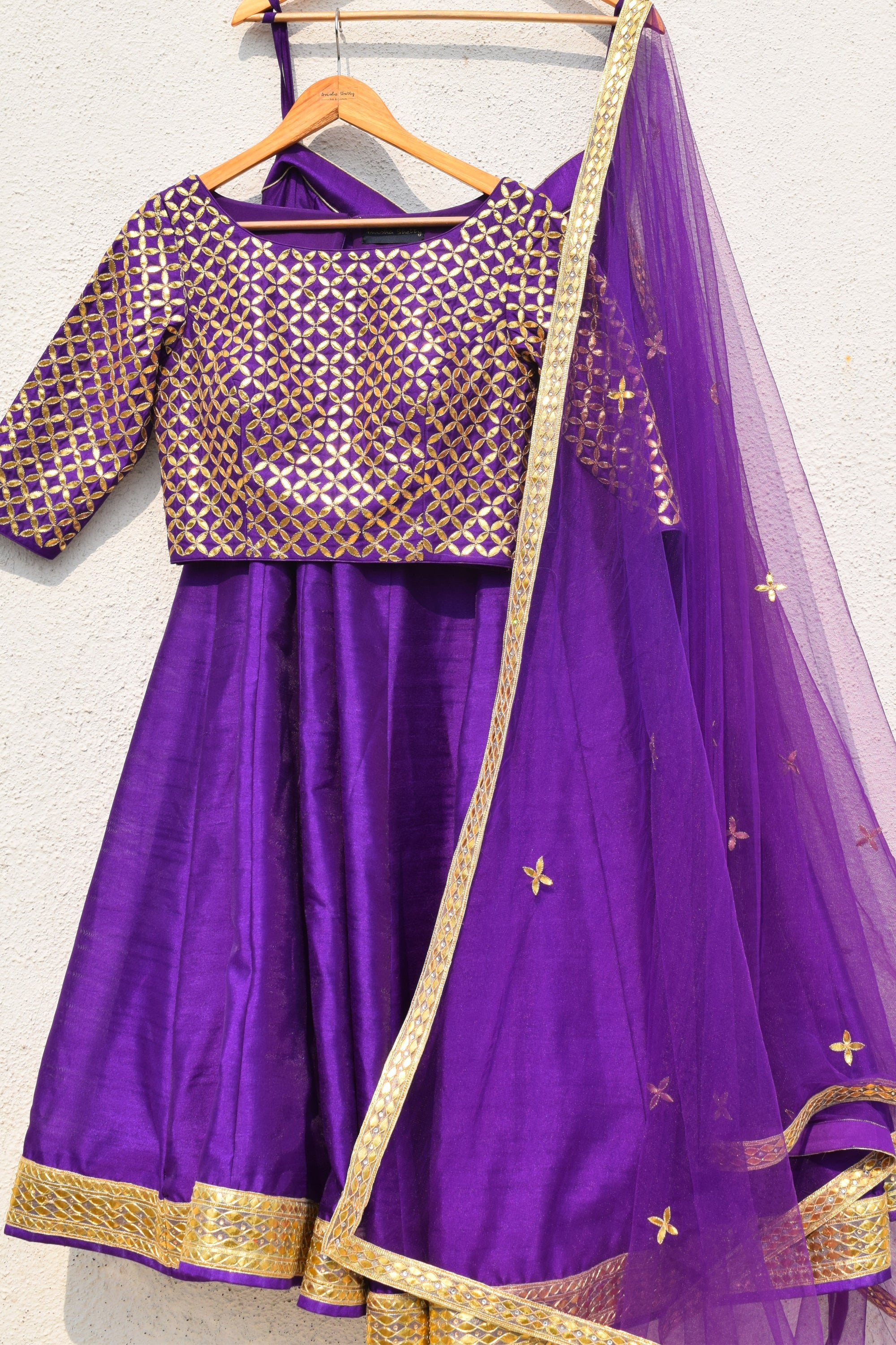 Purple Lehenga With Gota Patti Blouse & Dupatta Front